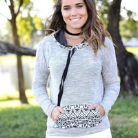 Gray Aztec Hoodie with Pocket