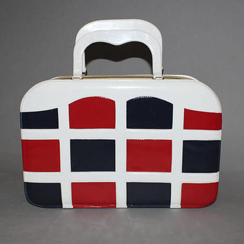 Vintage 60s MOD VINYL Handbag / Red White and Blue Checkered Bag / Union Jack, London, Gogo / Rectangular, Structured