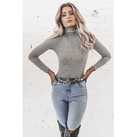 Promise Me Gray Turtleneck Bodysuit