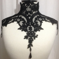 Gothic Victorian Lace Necklace with back laces and bead