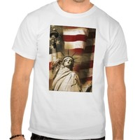Statue of Liberty and American Flag T Shirt