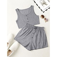 Button Front Tank Top With Shorts