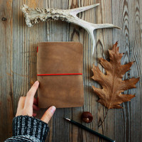Leather traveler's notebook, natural leather travelers notebook, Midori style journal, diary