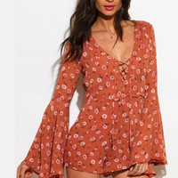 WOMENS TAUPE DUSTY PINK FLORAL DAISY PRINT LACEUP LONG BOHO ROMPER PLAYSUIT JUMPSUIT