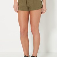 Olive Green Lace-Up Short | Soft Shorts | rue21