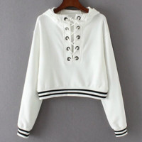 New Fashion long sleeve lace up type belly hollow hooded sweater