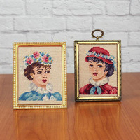 Vintage PAIR of Victorian Lady Needlepoint Portraits, Framed