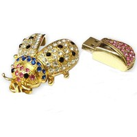 8GB Fashion Crystals Jewelry USB 2.0 Flash Memory Pen Drive Bug Gold Pendant for Necklace