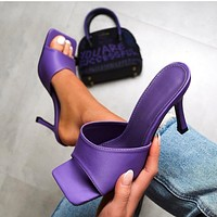 2020 new women's sexy square toe stiletto high heels shoes