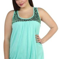 plus size bubble hem tank top with matching sequin yoke - debshops.com