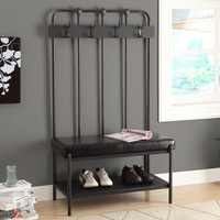 """Charcoal Grey Metal 60""""H Hall Entry Bench"""