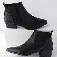 Claude Black Pointed Toe Ankle Booties