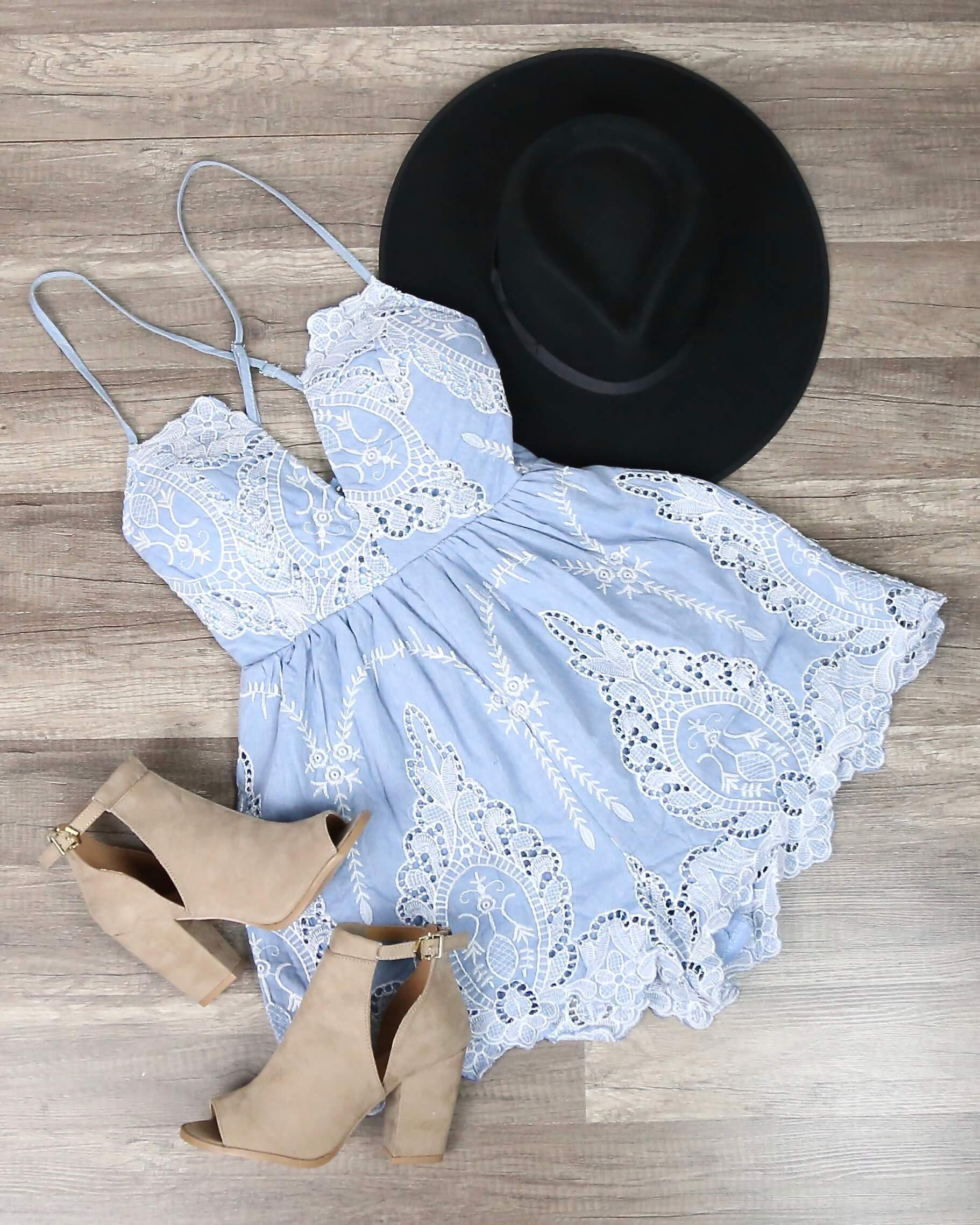 Image of Lace One Piece Embellished Embroidered Denim Romper