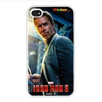 2013 Iron Man 3 Little Robert Downey Jr. Fashion Design Hard Case Cover Skin Protector for Iphone 4 4s Iphone4 At & T Sprint Verizon Retail Packing (White Pc + Pearlescent Aluminum) Fs-00261