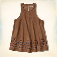 Faux Suede Embroidered Tank