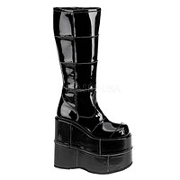 """Stack 301 Cyber Goth Gogo  7"""" Stacked Platform Knee High Boot Black Pat"""