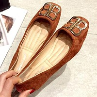 Balenciaga double B letter metal buckle female flat flat comfortable anti-single shoes brown
