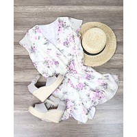 Lioness - Ruffle Hem Floral Print Romper in Lilac + Ivory