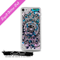Black Mandala Flowery Line Art Henna Cute Liquid Glitter Sparkle Case iPod Touch 5th Generation and iPod Touch 6th Generation iPod 6 iPod 5