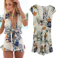 SIMPLE - Sexy Floral Printed V Neck Romper a12789