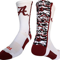 Alabama Crimson Tide Digital Camo Crew Socks (White/Crimson/Black, Medium)