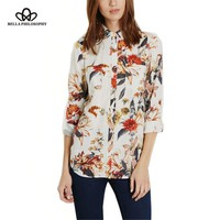 Autumn winter white floral flowers leaves print long sleeve buttons women blouse shirt