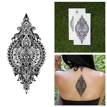 Intricate Detailed Henna Style Symmetrical Back Temporary Tattoo (Set of 2)