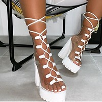 Hot style lace fish mouth transparent PVC thick heel boots shoes