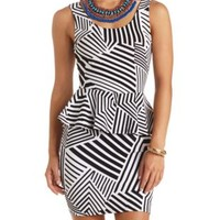 Mixed Stripe Bodycon Peplum Dress by Charlotte Russe - Ivory Combo