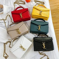 YSL Fashionable crocodile-print one-shoulder versatile cross-body chain small square bag lady