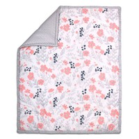 The Peanut Shell® Floral Quilt in Coral/Grey