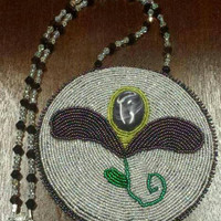 Fully Beaded Eastern Woodland Floral Medallion Necklace with Wampum Inlay - White with Purple Flower
