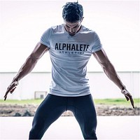 T-shirts Bodybuilding Fitness Gyms clothing T Shirts Workout Men Short Sleeve Cotton Tight Tees Tops
