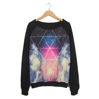 Black Tie-Dyed Gorgeous Night Sky Pattern Sweater