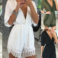 Lace Trimmed V-Neck Romper
