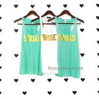 Mint Bachelorette Party Shirts Bride Squad Wedding Shirts Block Print
