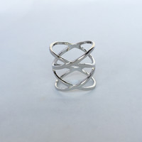 Ion Crash Knuckle Mid Ring - Silver