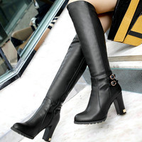 Winter  knee high boots platform high heels black round toe  boots wedding shoes