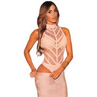 Pink Sheer Lace Striped Bodysuit High Neck Mesh Sexy Womens Skeleton Jumpsuits Bodycon Sexy Bodysuits Leotards 2016 New Bodysuit