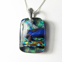 Dichroic Glass Necklace with Sterling Silver Chain