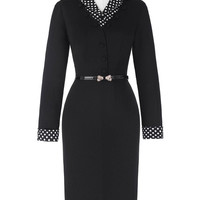 Women Dress 2017 Slim Winter Pencil Dress 50s 60s Rockabilly Retro Vintage Long Sleeve Lapel Collar Hips-Wrapped Bodycon Dress