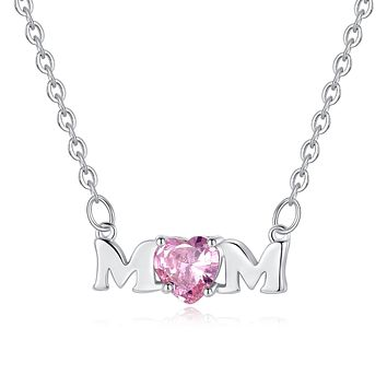 Mom Necklace with Pink Cubic Zirconia