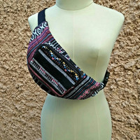 Festival Fanny pack Tribal Ethnic Style Fabric belt belly Pouch Travel bag Multicolor Ikat Hippie Hipster cycling hiking Bohem in pink black