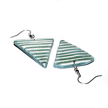Ceramic jewelry earrings -Striped triangle, minimalist jewelry, light blue, gift for her, summer colors, colorful, modern jewelry