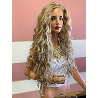 """Ash Blonde Balayage Lace Front Wig 26"""" with multi parting 619"""