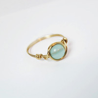 Seafoam Opal Ring - unique rings - wire wrapped ring - bohemian jewelry