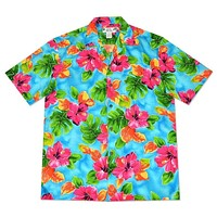 hoopla blue hawaiian aloha rayon shirt