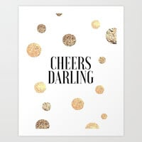 CHEERS DARLING GIFT, Wedding Quote,Anniversary Print,Gold Confetti,Cheers Sign,Champagne Quote,Celeb Art Print by TypoHouse