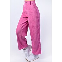 Gilmore Wide Leg Corduroy Trousers - Peony