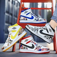 elainse29 NIKE Air Jordan 1 AJ1 High tops New graffiti Contrast Basketball shoes blue red black